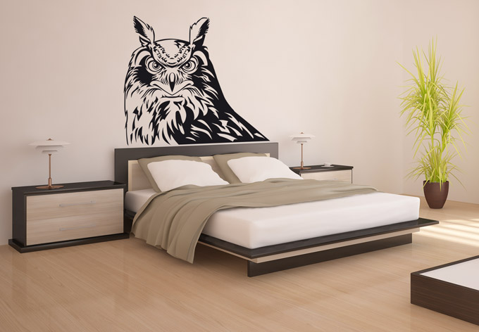stickers muraux hiboux sympa. Black Bedroom Furniture Sets. Home Design Ideas