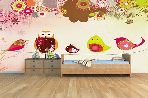 photo stickers muraux oiseaux fil