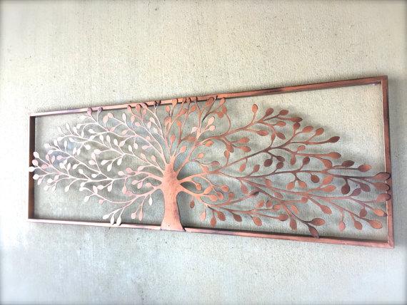 Decoration Murale En Metal Cheap Triptyque En Metal Motif Arbre
