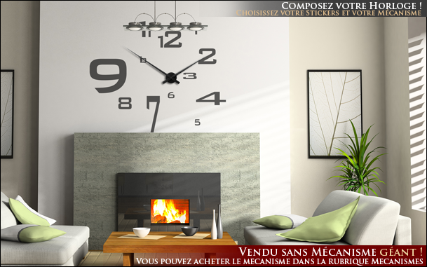 Photo stickers deco horloge for Horloge originale salon
